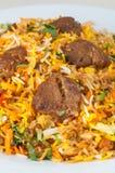 印地安羊羔意大利煨饭或biryani 免版税库存图片