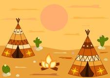 印地安美国当地圆锥形帐蓬帐篷动画片背景例证 免版税库存照片