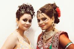印地安美好的时装模特儿(新娘神色) 免版税图库摄影