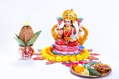 印地安节日屠妖节, Laxmi Pooja 免版税库存图片