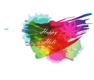 印地安节日愉快的Holi庆祝与多颜色飞溅和小条的创造性的模板在白色背景 免版税图库摄影