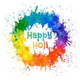 印地安节日愉快的Holi的传染媒介例证 库存照片