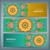 印地安花卉佩兹利大奖章横幅 种族坛场装饰品 能为纺织品,贺卡,彩图使用 库存照片