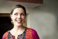 印地安莎丽服的舞蹈家 库存照片