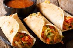 印地安街道素食食物:用菜充塞的Roti卷 免版税库存照片