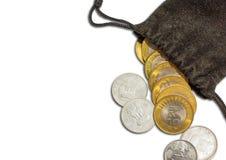 印地安货币在袋子的10卢比硬币, 免版税库存照片
