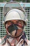 印地安边境卫兵 军队检查站在克什米尔喜马拉雅山 斯利那加,印度 免版税图库摄影