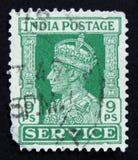 印地安邮票显示乔治六世国王,大约1942年 库存图片