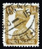 印地安邮票显示乔治六世国王,大约1942年 免版税库存图片