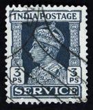 印地安邮票显示乔治六世画象1895 -1952,大约1942年 库存照片