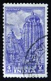 印地安邮票显示Ananta Vasudeva寺庙, Bhuvanesvara,大约1951年 库存照片