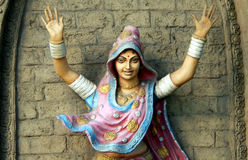 印地安部族Lambada舞蹈家墙壁艺术 免版税库存图片