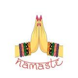 印地安问候横幅Namaste 免版税库存照片