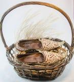 印地安鞋子国王柳条棕色篮子 库存图片