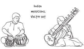 印地安音乐家传染媒介剪影  免版税库存图片