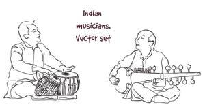印地安音乐家传染媒介剪影  库存照片