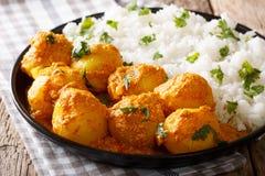 印地安食物:Dum在一个调味汁的aloo土豆与米特写镜头 Ho 免版税库存图片