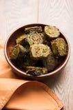 印地安食物Patra或Paatra或者Alu Vadi 库存图片