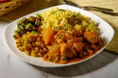 印地安鸡咖喱晚餐 库存照片