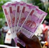 印地安货币,二千卢比 库存照片