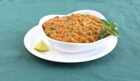 印地安素食食物豌豆咖喱 免版税库存照片