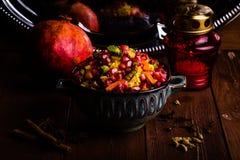印地安素食主义者Biryani用香料 免版税库存照片