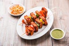 印地安paneer烤肉或tikka kabab 免版税库存图片