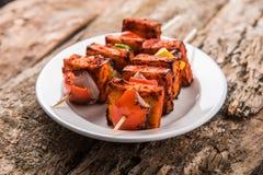 印地安paneer烤肉或tikka kabab 库存图片