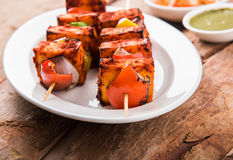 印地安paneer烤肉或tikka kabab 免版税库存照片