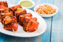 印地安paneer烤肉或tikka kabab 免版税图库摄影