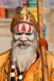 印地安sadhu (圣洁者)。瓦腊纳西,北方邦,印度。 库存照片