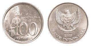 100印尼盾硬币 库存照片