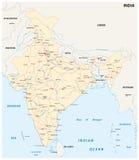印度与主要城市的路线图 图库摄影