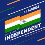 印度人与印度挥动锋利的角落和文本在蓝色背景传染媒介设计的旗子条纹的美国独立日横幅 向量例证