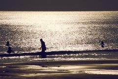印度人沐浴在日落期间在海滩 免版税库存图片