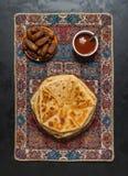印度人Naan小面包干做用全麦 库存照片