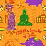 印度传染媒介无缝的样式 图库摄影