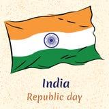 印度共和国与旗子的天例证 库存图片