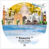 印度共和国地标全球性旅行和旅途背景 免版税库存照片