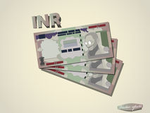 印度卢比金钱纸最小的向量图形设计 免版税库存照片