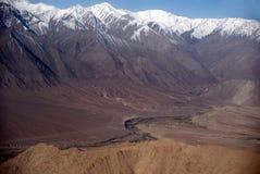 印度印度斯ladakh leh河 库存图片