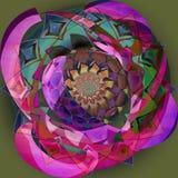 印度圆的花坛场 紫色五颜六色的图象N,绿色,蓝色板台,有平面橄榄色的背景 皇族释放例证
