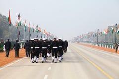 印度士兵乘共和国天Parade2014的机会在新德里,印度 库存图片