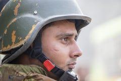 印度士兵在即将来临的印度共和国天游行的排练活动参与 德里新的印度 库存图片