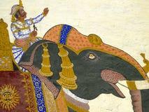 印度大君绘画拉贾斯坦墙壁 免版税图库摄影