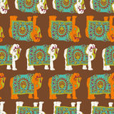 印度大象无缝的样式 免版税库存图片