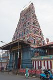 印度寺庙在本地治里市,泰米尔纳德邦 库存图片
