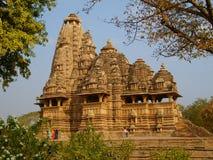 印度寺庙在Kajuraho 免版税库存照片