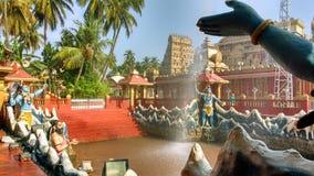 印度寺庙池塘芒格洛尔 免版税库存图片