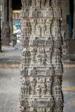 印度寺庙石头柱子甘吉布勒姆印度 免版税库存照片